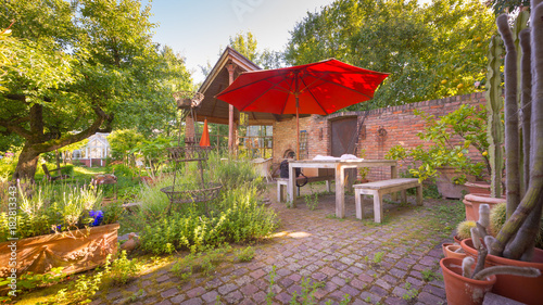 Garten Terrasse Im Mediterranen Stil Stock Photo And Royalty Free