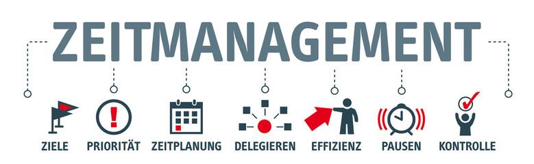 Banner Zeitmanagement - vektor Illustration mit Piktogrammen