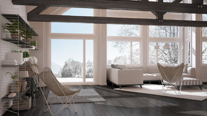 Living room of luxury eco house, parquet floor and wooden roof trusses, panoramic window on winter meadow, modern white and gray interior design