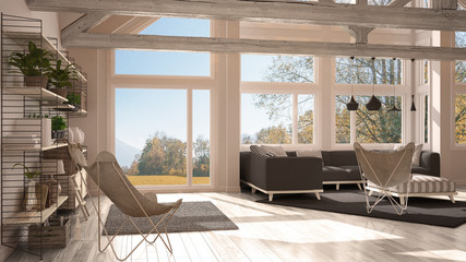 Living room of luxury eco house, parquet floor and wooden roof trusses, panoramic window on autumn meadow, modern white and gray interior