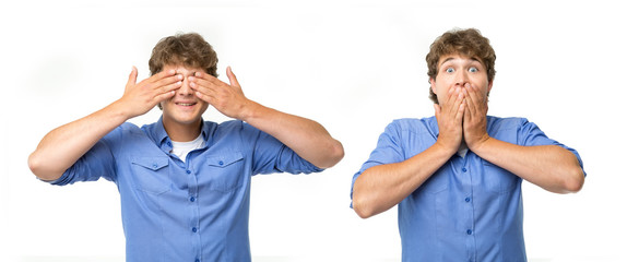 Do not say anything, be silent and see nothing. Two portraits of one man with different expressions of emotion isolated on white background.
