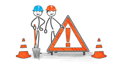 attention danger sur chantier en travaux