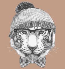 Portrait of Hipster Tiger. Portrait of Tiger with sunglasses and hat. Hand-drawn illustration.