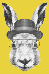 Portrait of  Hare with hat and glasses, hand-drawn illustration