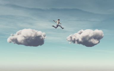 Businessman jumps on a cloud Wall mural