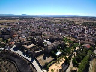Vista aerea de Oropesa. Pueblo de Toledo, en la comunidad autónoma de Castilla La Mancha (España)