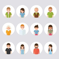 Set of style family people media in cartoon style Isolated on white background.