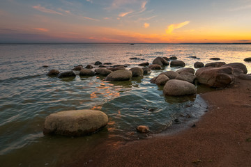 calm on the gulf of Finland at sunset.