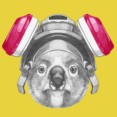 Portrait of Koala with gas mask, hand-drawn illustration