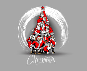 Christmas santa tree background Cartoon Style Hand Sketchy drawing of a funny Santa Claus, vector illustration.