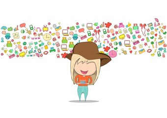 Teenage girl wearing hat playing with phone happy template design thinking idea with social network icons background. Drawing by hand vector. Social network background with media icons.