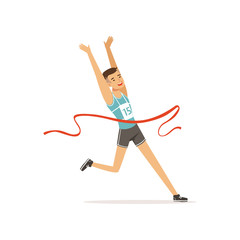 Athletic man taking part in running competition. Guy in shorts and t-shirt with number. Sportsman character crossing finish red tape. Olympic sport game. Isolated flat vector