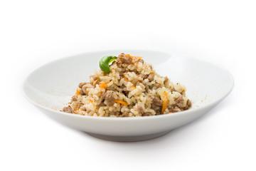 Risotto con carne macinata di manzo e carote