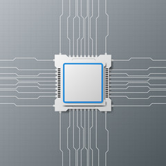 Modern design technology with microchip, circuitry, and computer cpu. vector illustration