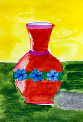 Red vase. Child watercolour hand drawing.