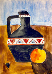 Jug with chipped neck and apple. Child watercolour hand drawing.