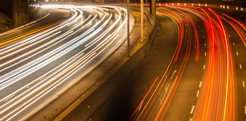 Vehicle Light Trails on the Highway