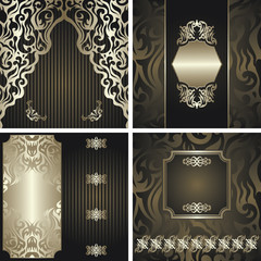 Set of four floral cards. Floral background, striped background, floral frame. All cards have seamless background