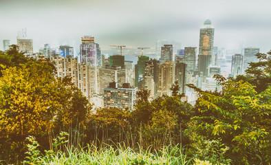 Hong Kong night skyline from city hill