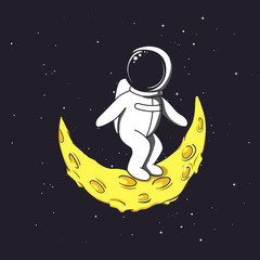 Spaceman stands on crescent Moon.Childish vector illustration