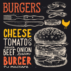 Burger poster for menu restaurant.