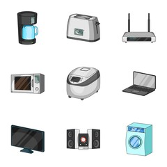 Kitchen appliances cartoon icons in set collection for design.Home appliances and equipment vector symbol stock web illustration.