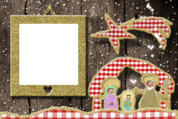 Creche, Christmas photo frame greetings card