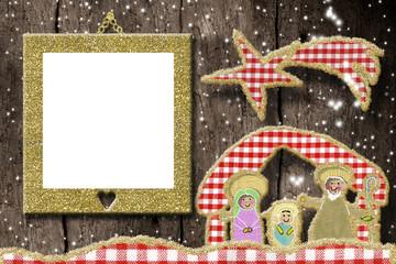 Creche, Christmas photo frame greetings card
