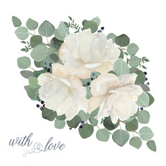 Floral card vector Design: garden white, creamy peony, Rose flower, silver Eucalyptus, thyme green leaves elegant greenery, blue berry bouquet, print, element. Rustic wedding editable invite template