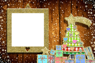 Christmas empty photo frame greeting car