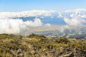 View from top of Haleakala volcano on Maui, Hawaii