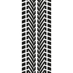 Tire tread or track isolated on white background. Tyre print. Vector illustration.