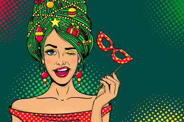 Wow pop art Christmas face. Young sexy surprised woman with open mouth, New Year tree on head, carnival mask in hand winks. Vector bright illustration in retro comic style. Holiday party invitation.