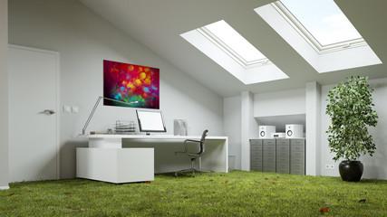 Gras Wiese Als Boden Im Arbeitszimmer