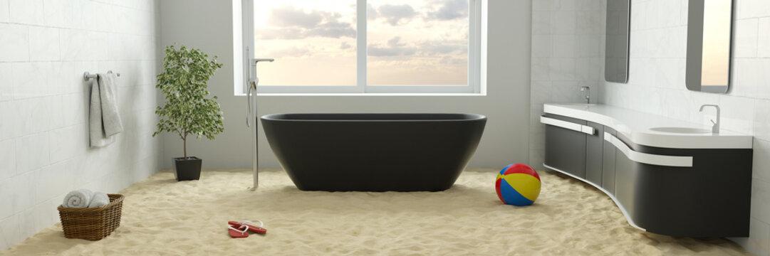 Sand vom Strand auf Boden im Badezimmer