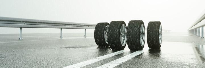 Reifen auf nasser Straße bei Regen Wetter