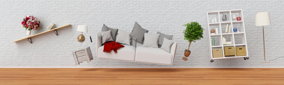 Schwebende Möbel in Wohnzimmer als Panorama