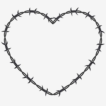 Shape of Heart. Vector Silhouette of Barbed Wire