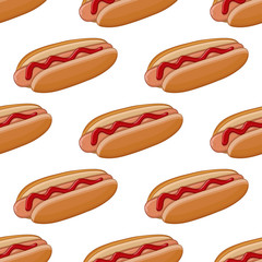 Hot dog. Colored doodle seamless pattern