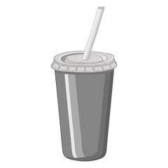 Disposable cola cup with drinking straw. Hand drawn sketch