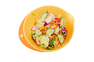 vegetable salad in a bowl. isolated on white