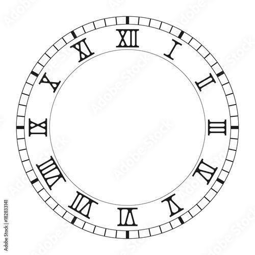 Clock face  Black blank clock with roman numerals