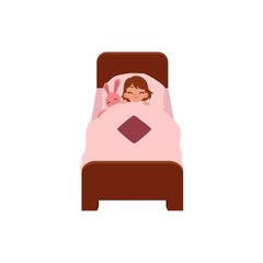 vector flat cartoon children at summer camp concept. Girl kid having rest sleeping in bed under blanket with pink rabbit toy. Isolated illustration on a white background.