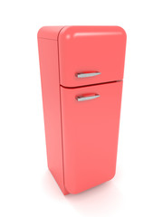 3d render red retro refrigerator isolated on white background.