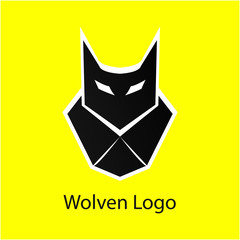 black wolf head logo with white eyes and white outlines in sharp shape