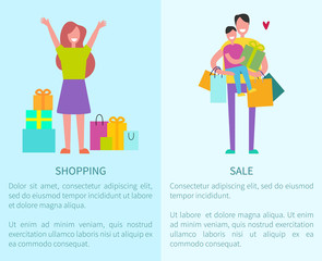 Shopping and Sale Posters Vector Illustration