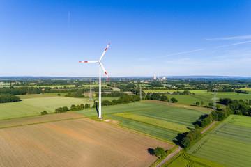 Windkraftanlage in Deutschland von oben