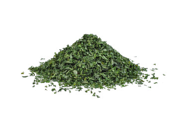 pile of dried parsley leaf or petroselinum crispum isolated on white background