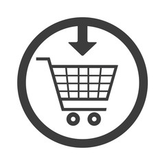 trolley supermarket and arrow pointer over white background