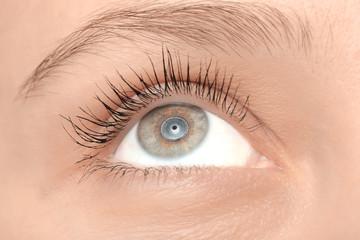 Female eye with long lashes, closeup